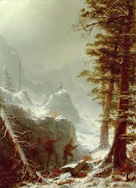 Paintings Reproductions Bierstadt, Albert Three Hunters Stalking a Big Horn Sheep in a Snow Squall, 1880