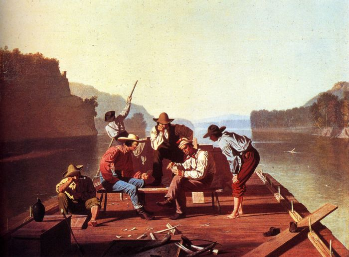 George Caleb Bingham Reproductions-Ferrymen Playing Cards, 1847