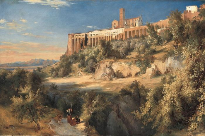 Karl Blechen Reproductions-View of Assisi