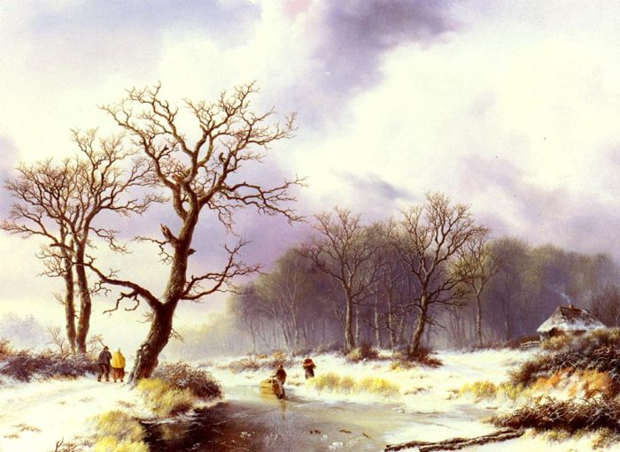 Willem Bodemann Reproductions- A Winter Landscape , 1844