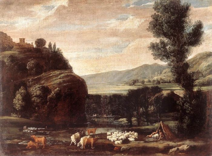 Pietro Paolo Bonzi Reproductions- Landscape with Shepherds and Sheep, 1621