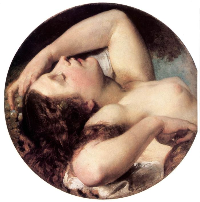 Paintings Reproductions Brocky, Karoly Sleeping Bacchante, 1850