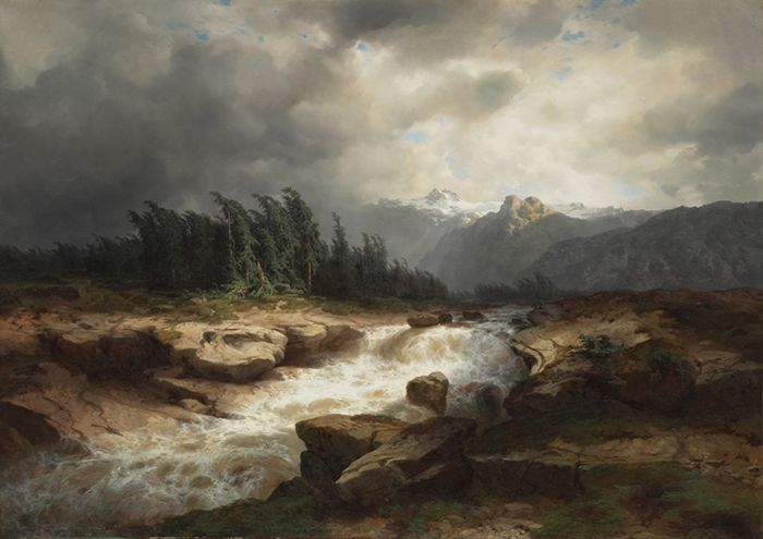 Paintings Reproductions Calame, Alexandre Mountain Torrent Before a Storm, 1850