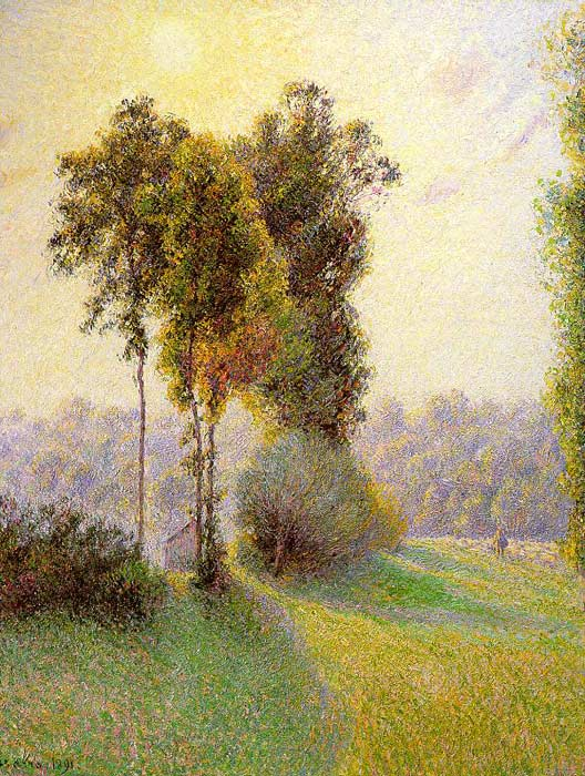 Camille Pissaro  Reproductions-Sunset at St. Charles, Eragny, 1891
