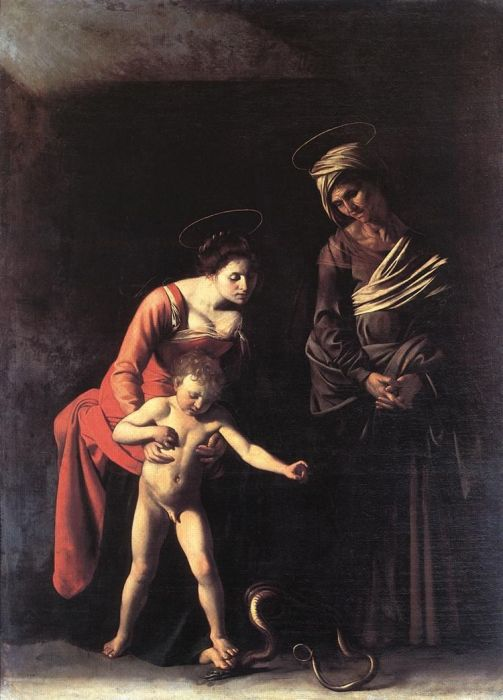 Michelangelo Merisi da Caravaggio Reproductions-Madonna and Child with St. Anne (Dei Palafrenieri), 1606