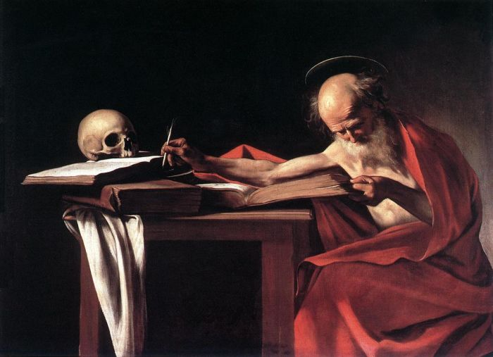 Paintings Reproductions Caravaggio, Michelangelo Merisi da St. Hieronymus Writing,1605-1606