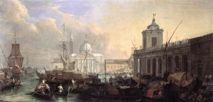 Luca Carlevaris Reproductions-The Sea Custom House with San Giorgio Maggiore, 1700