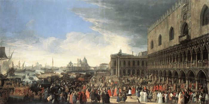 Luca Carlevaris Reproductions-The Reception of Cardinal César d'Estrées, 1701