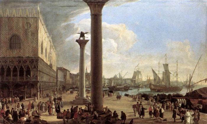 Luca Carlevaris Reproductions-The Wharf, Looking toward the Doge's Palace