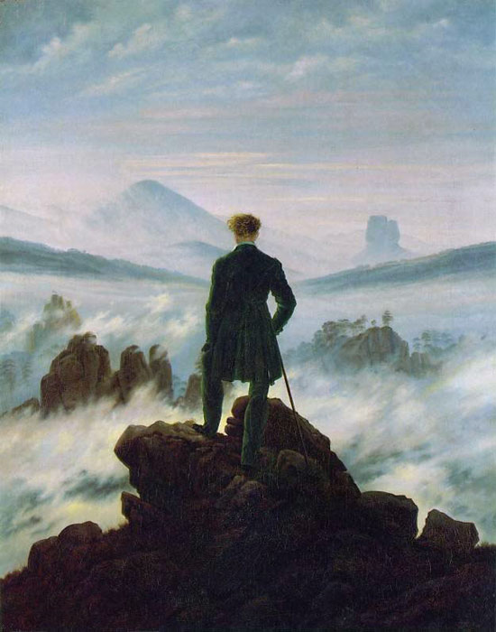 Caspar David Friedrich Reproductions-Wanderer above the Sea of Fog, 1818