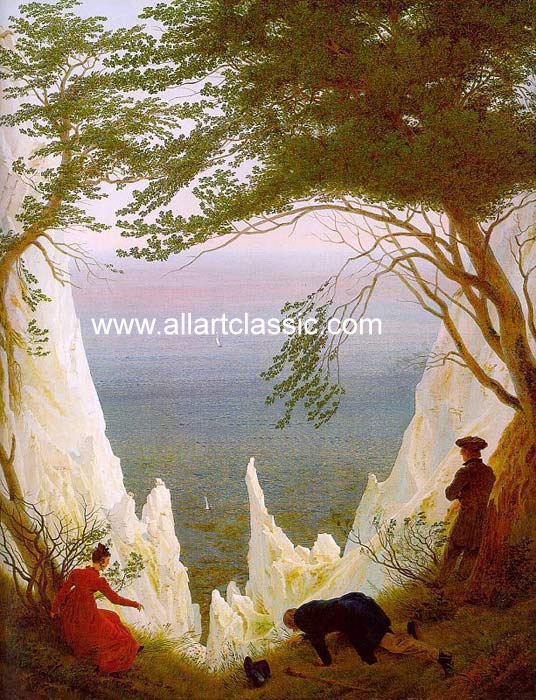 Caspar David Friedrich Reproductions-Chalk Cliffs on R?gen, 1818-1819
