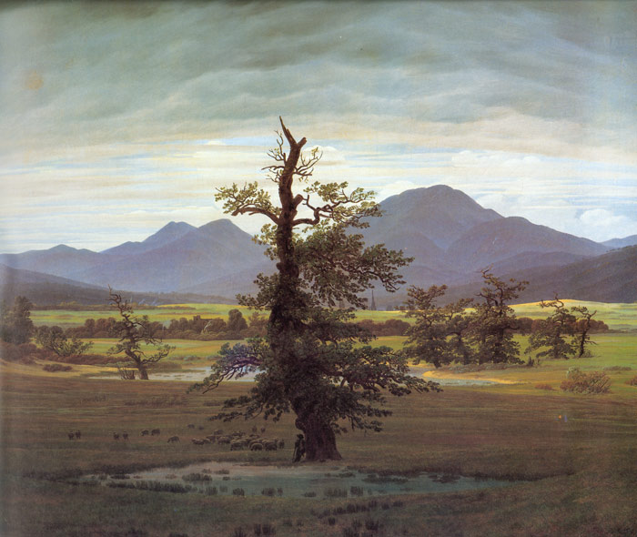 Caspar David Friedrich Reproductions-Landscape with Solitary Tree, 1822