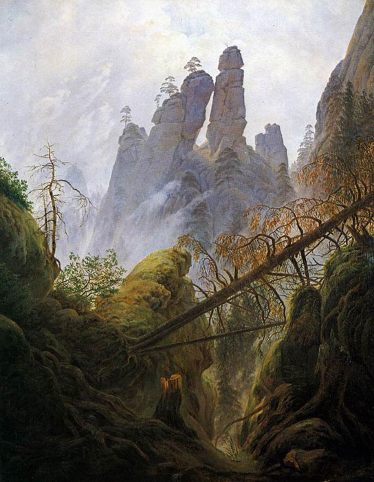 Caspar David Friedrich Reproductions-Rocky Ravine, 1822-1823