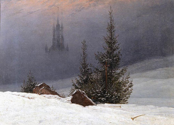 Caspar David Friedrich Reproductions-Winter Landscape with Church, 1811