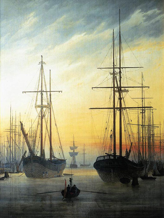 Caspar David Friedrich Reproductions-View of a Harbour, 1815-1816