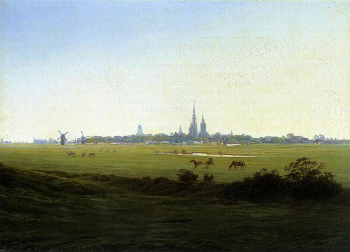 Caspar David Friedrich Reproductions-Meadows near Greifswald, 1822