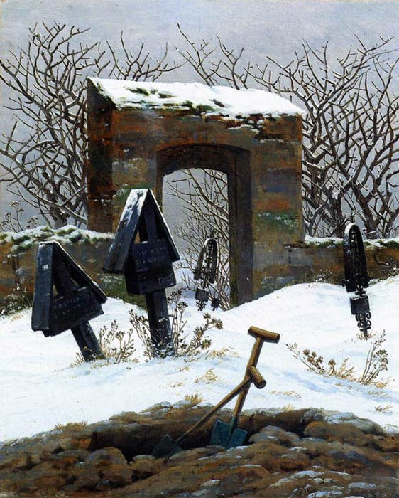 Caspar David Friedrich Reproductions-Graveyard under Snow, 1826