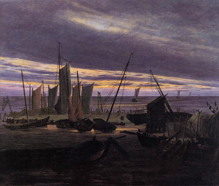 Caspar David Friedrich Reproductions-Boats in the Harbour at Evening, 1828