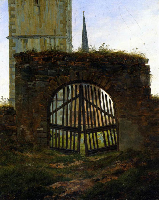 Caspar David Friedrich Reproductions-The Cemetery Gate (The Churchyard), 1825-1830