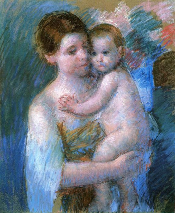 Mary Cassatt Reproductions-Mother Holding Her Baby, 1914