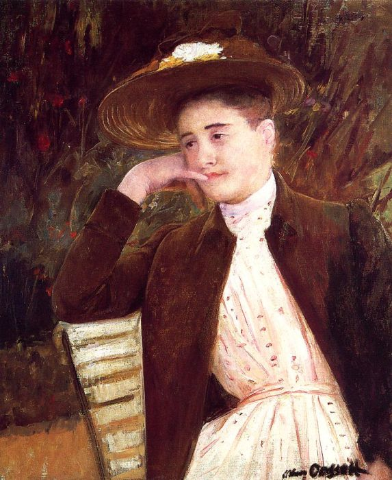 Mary Cassatt Reproductions-Celeste in a Brown Hat , 1891