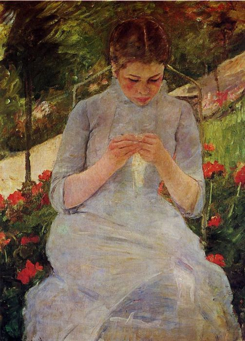 Mary Cassatt Reproductions-Young Woman Sewing in a Garden, 1886