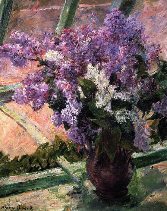 Mary Cassatt Reproductions-Lilacs in a Window, 1880