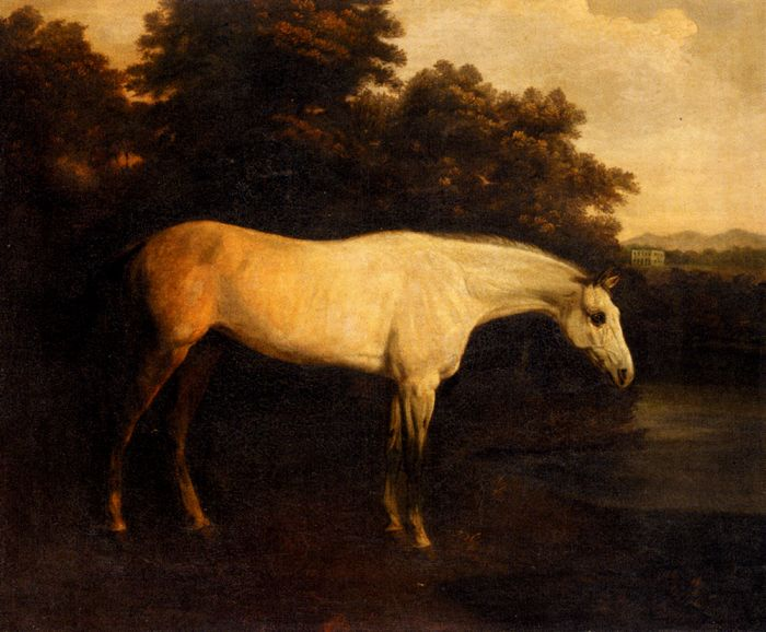 Henry Barnard Chalon Reproductions-A Grey Hunter In A River Landscape