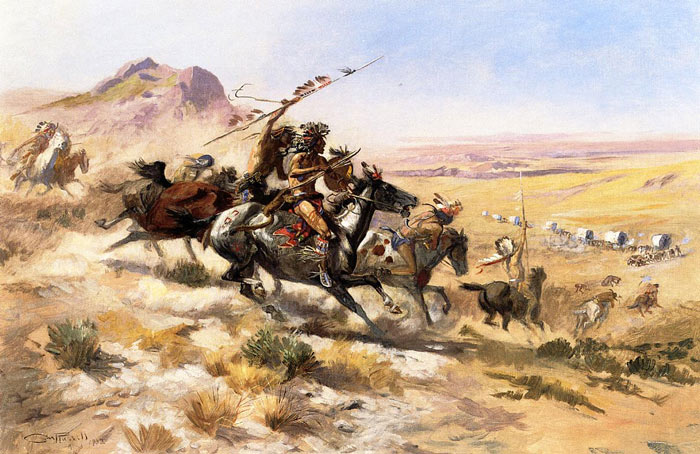 Attack on a Wagon Train, 1902 Russell, Charles Marion Painting Reproductions