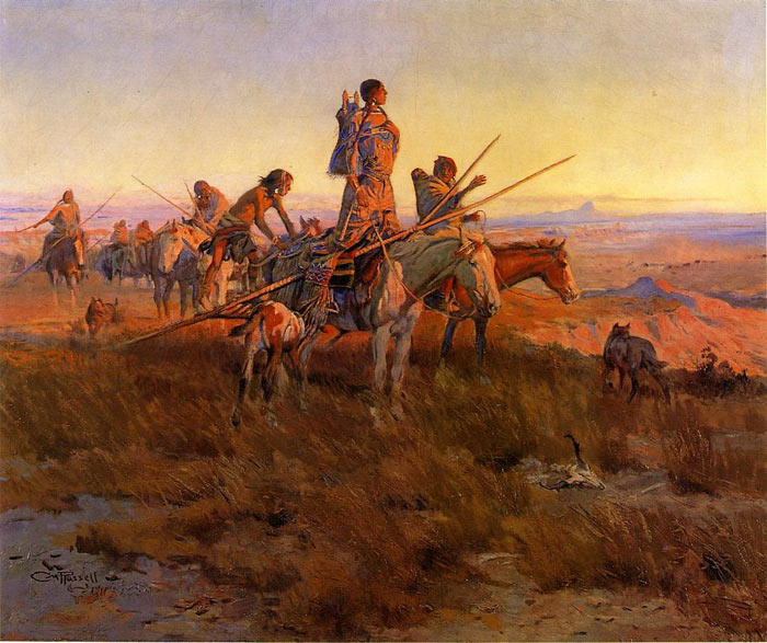 Paintings Reproductions Russell, Charles Marion In the Wake of the Buffalo Hunters, 1911