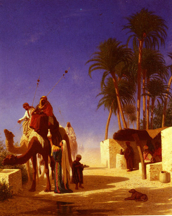 Charles Theodore Frere  Reproductions-Les Chameliers Buvant Le The [Camel Drivers Drinking from the Wells], 1855