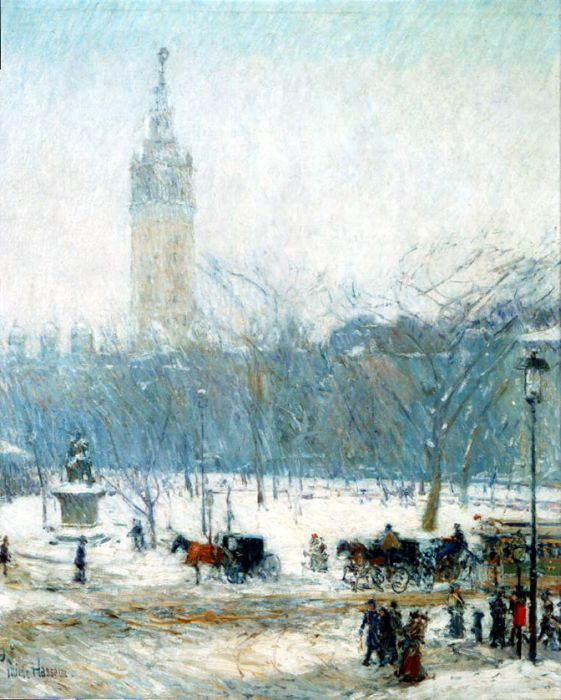 Childe Hassam Reproductions-Snowstorm, Madison Square, c. 1890