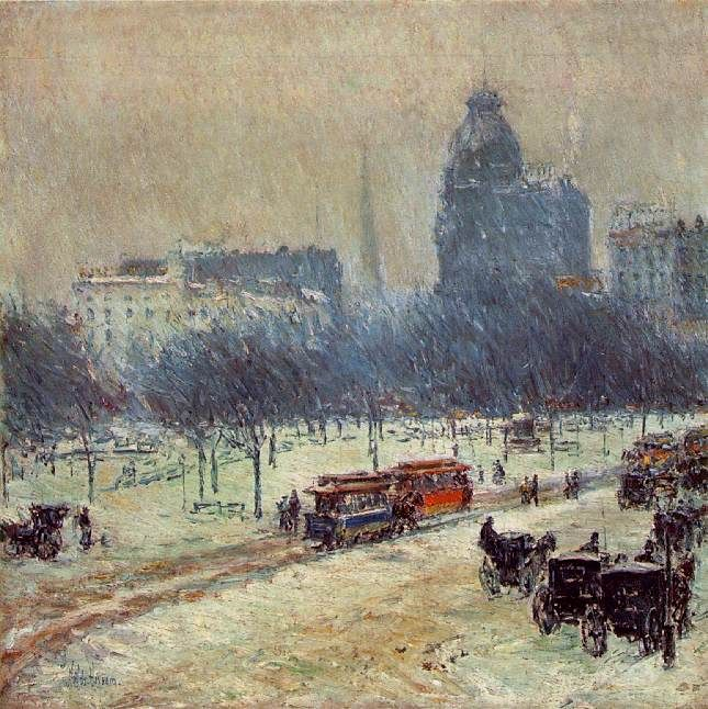 Childe Hassam Reproductions-Winter in Union Square, 1894
