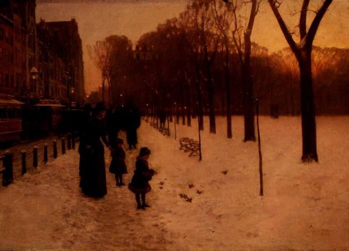 Childe Hassam Reproductions-Boston Common at Twilight, 1885