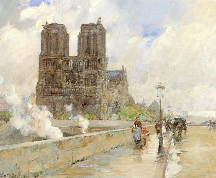 Childe Hassam Reproductions-Notre Dame Cathedral, Paris, 1888