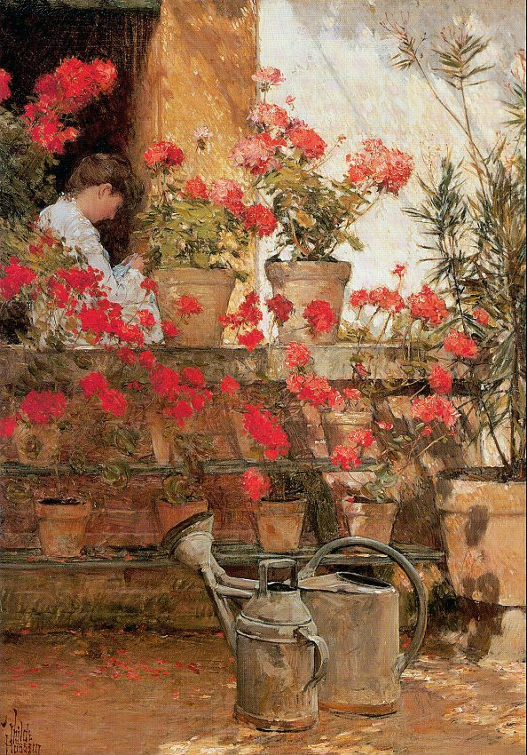 Childe Hassam Reproductions-Geraniums, 1888