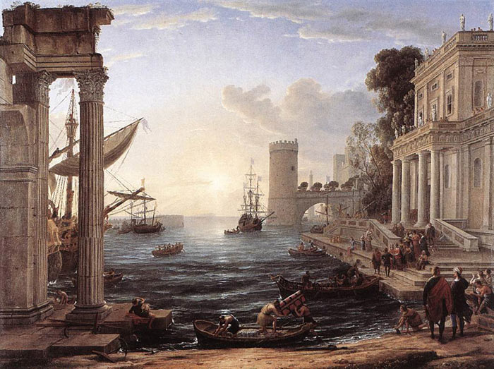 Paintings Reproductions Lorrain, Claude Seaport with the Embarkation of the Queen of Sheba, 1648