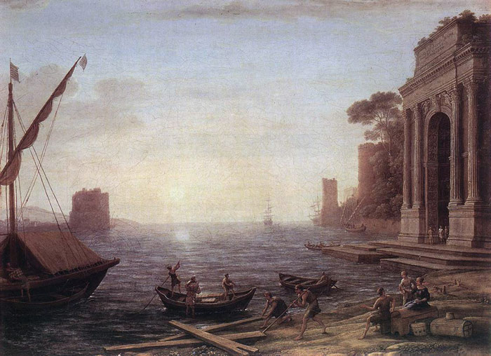 Claude Lorrain Reproductions-A Seaport at Sunrise, 1674