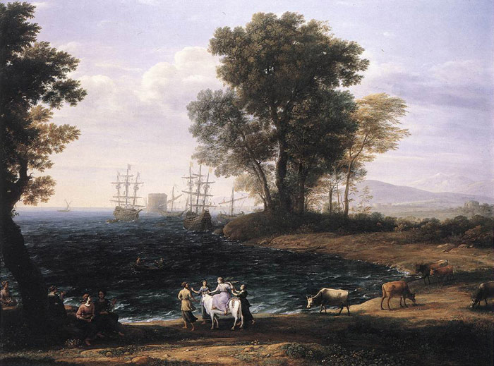 Claude Lorrain Reproductions-Coast Scene with the Rape of Europa, 1667