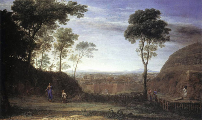 Paintings Reproductions Lorrain, Claude Landscape with Noli Me Tangere Scene, 1681