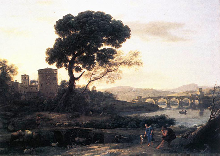 Claude Lorrain Reproductions-Landscape with Shepherds - the Pont Molle, 1645