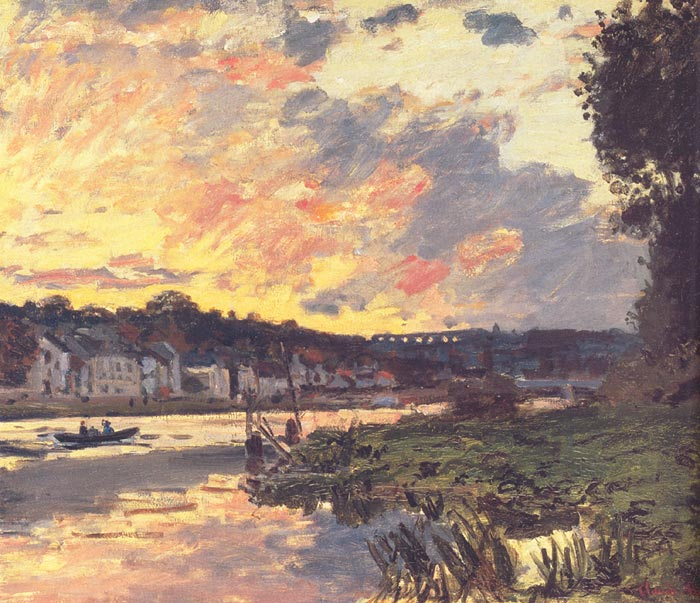 Claude Oscar Monet  Reproductions-The Seine at Bougival in the Evening, 1869