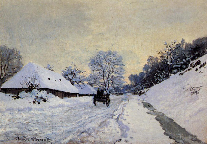 Claude Oscar Monet  Reproductions-A Cart on the Snow Covered Road with Saint-Simeon Farm, 1865