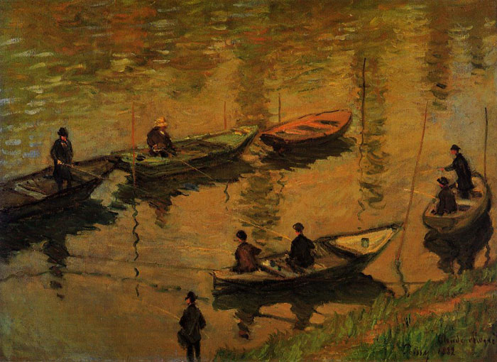 Claude Oscar Monet  Reproductions-Anglers on the Seine at Poissy , 1882