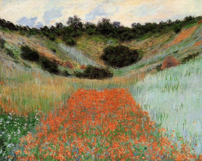 Claude Oscar Monet  Reproductions-Poppy Field in a Hollow near Giverny , 1885