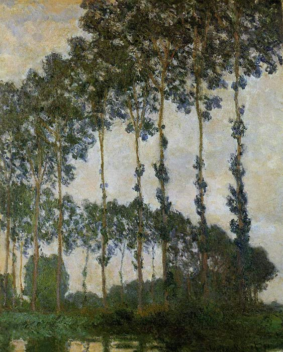 Claude Oscar Monet  Reproductions-Poplars near Giverny, Overcast Weather , 1891