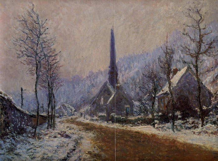 Claude Oscar Monet  Reproductions-Church at Jeufosse, Snowy Weather, 1893