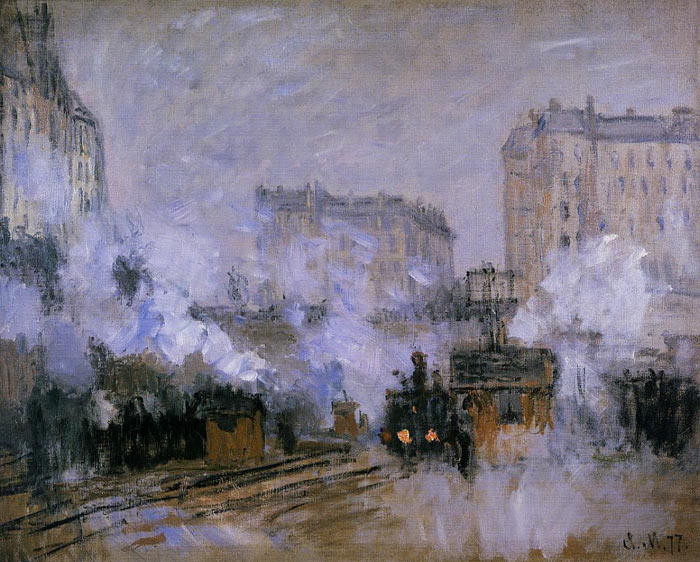 Paintings Reproductions Monet, Claude Oscar Exterior of the Saint-Lazare Station, Arrival of a Train , 1877