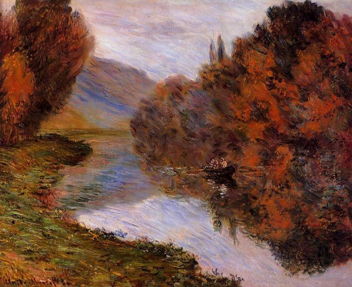 Claude Oscar Monet  Reproductions-Rowboat on the Seine at Jeufosse , 1884