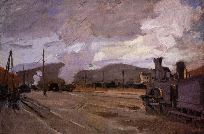 Claude Oscar Monet  Reproductions-The Railroad Station at Argenteuil , 1872